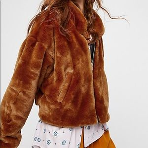 Free People Furry Bomber in Cognac